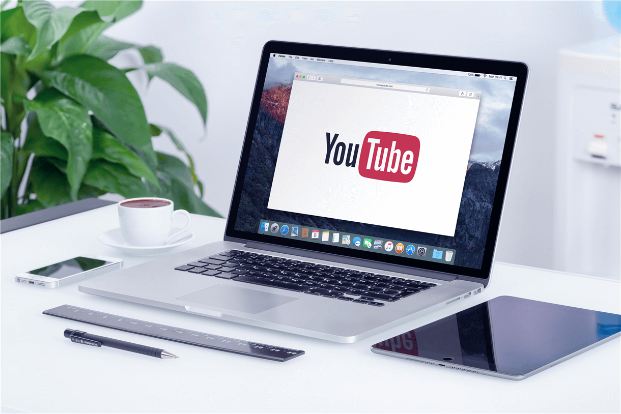 laptop with you tube on the screen