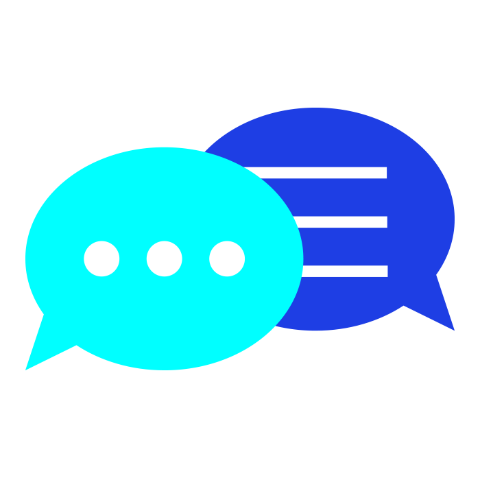 Light blue and dark blue speech bubbles