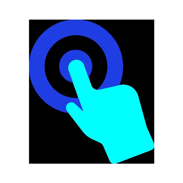 Light blue hand pointing at dark blue target