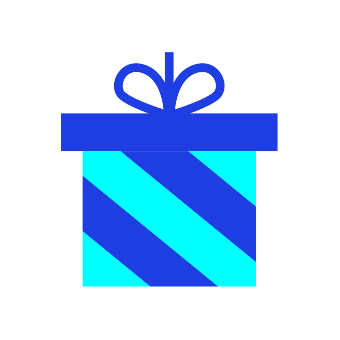 Light blue and dark blue wrapped present
