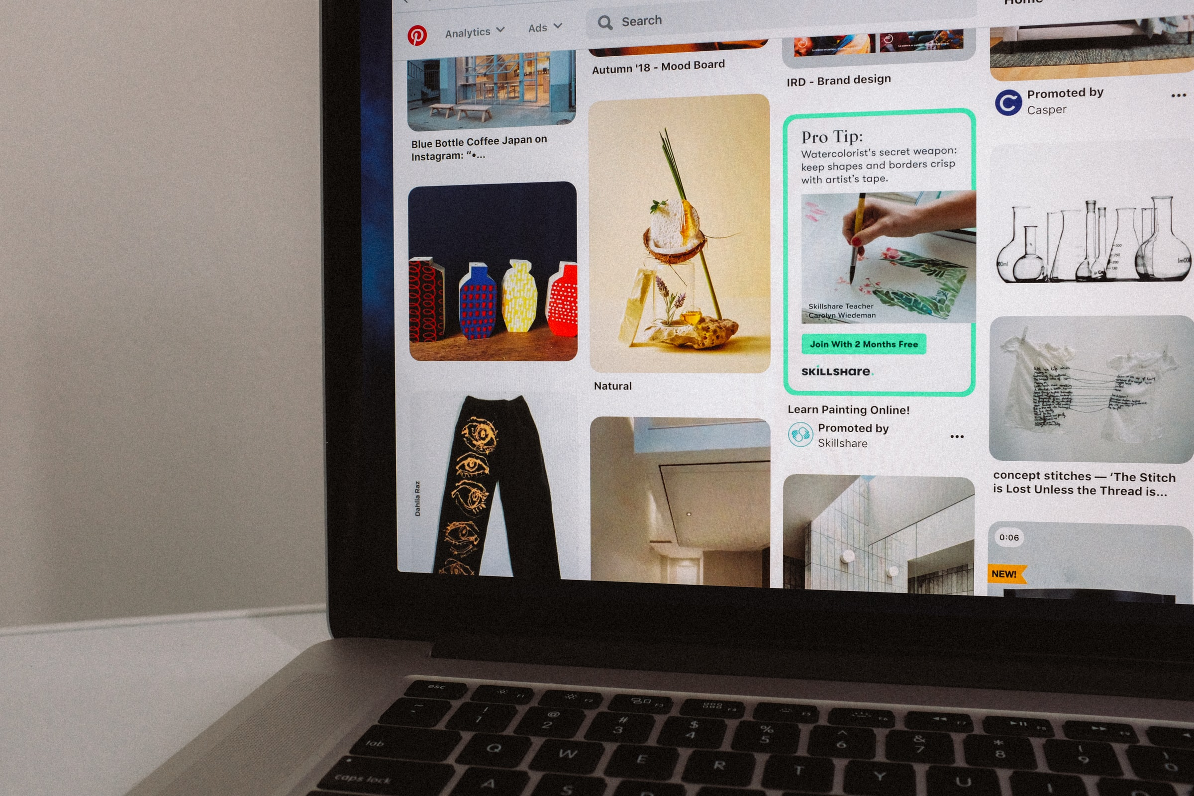 Mac book showing Pinterest