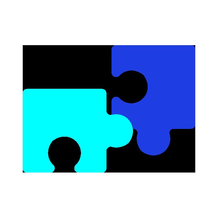 Dark blue and light blue jigsaw pieces