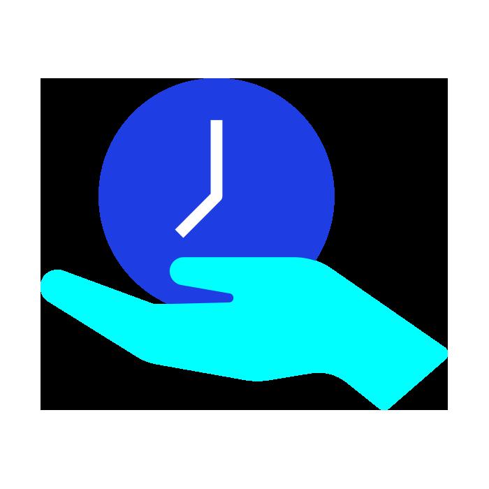 Light blue hand holding a dark blue clock face
