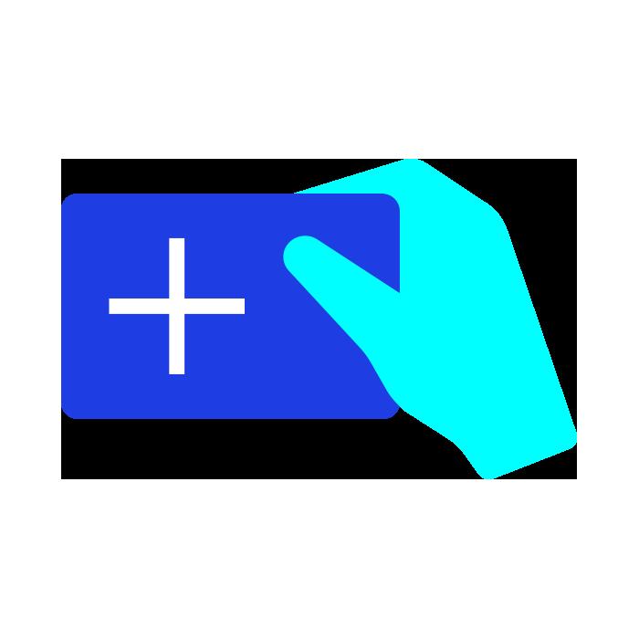 Light blue hand holding a dark blue card