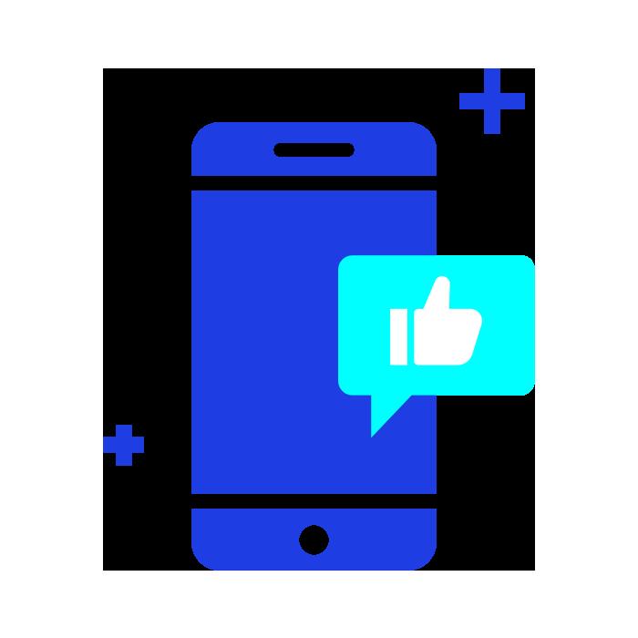 Dark blue phone graphic with light blue interaction symbols