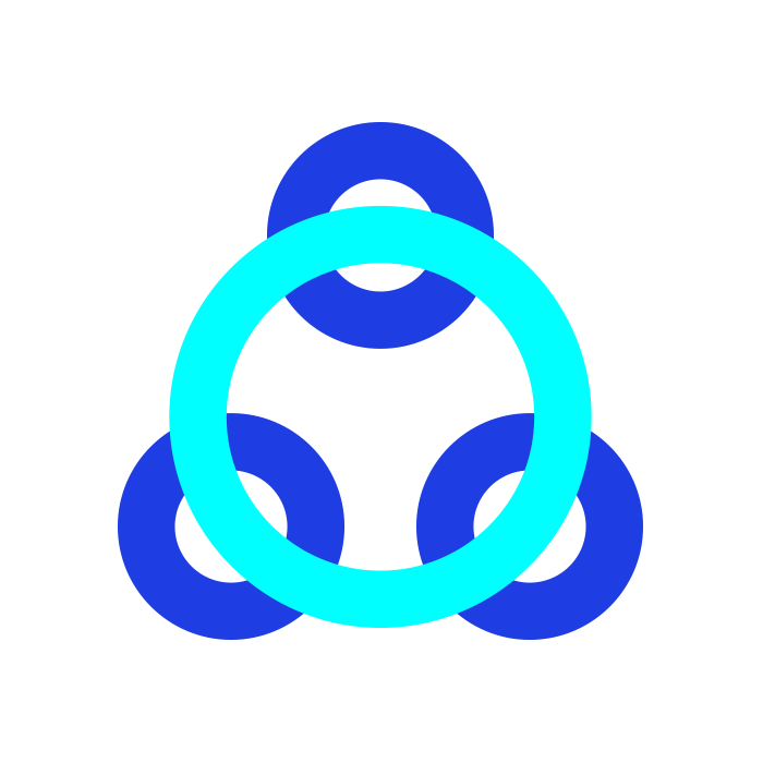 3 small dark blue circles joined by a large light blue circle