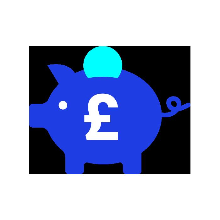 Blue piggy bank with white pound symbol