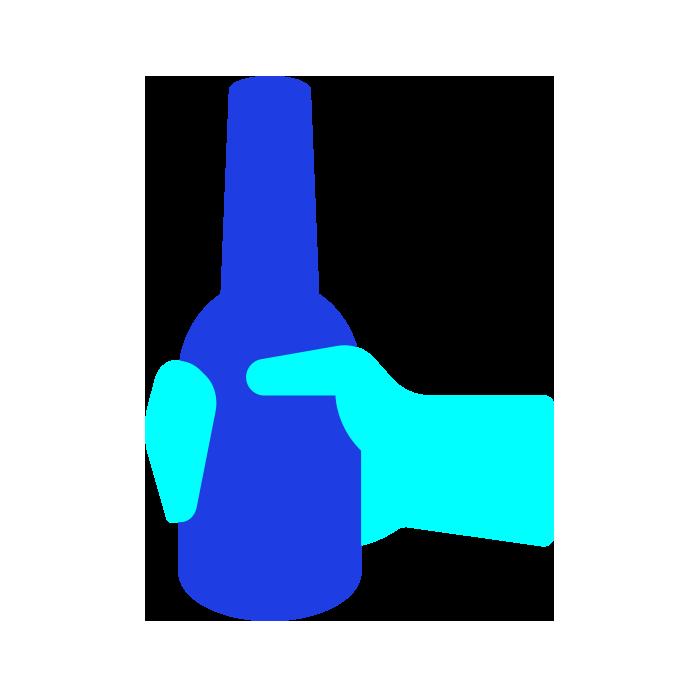 Light blue hand holding a dark blue bottle