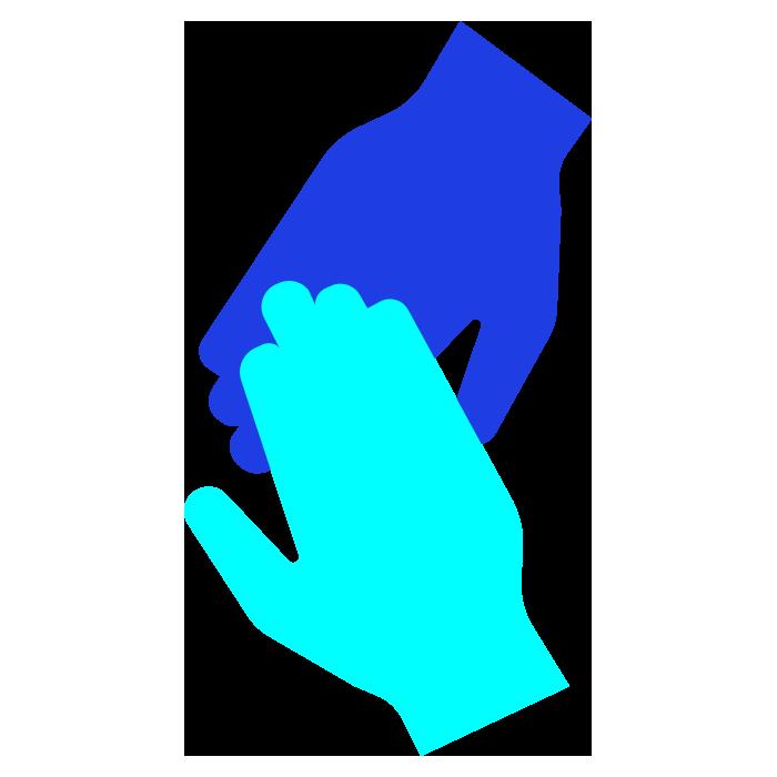 Light blue hand holding a dark blue hand