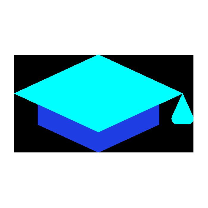 Light blue and dark blue graduation cap
