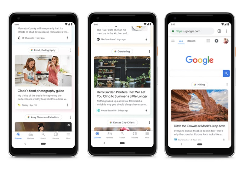 Example of Google Discover which appears on mobile and tablet devices
