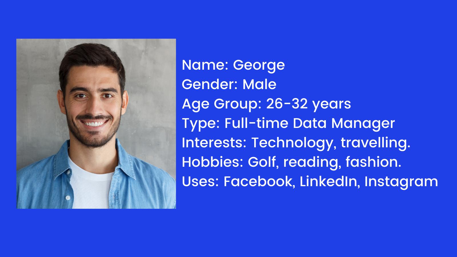 Image of a male with a descriptive persona
