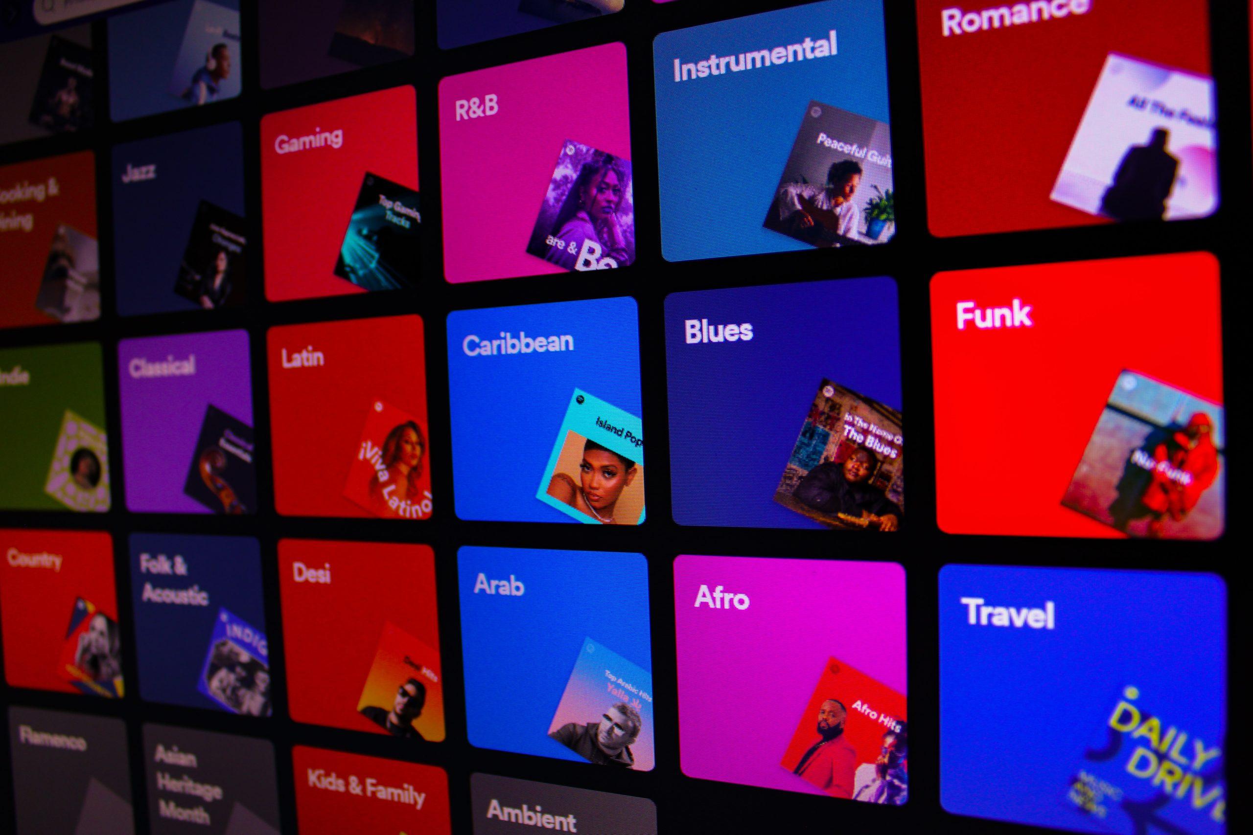 Image of Spotify genre screen